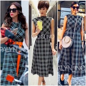 ZARA GREEN CHECKERED MIDI FLOWING DRESS